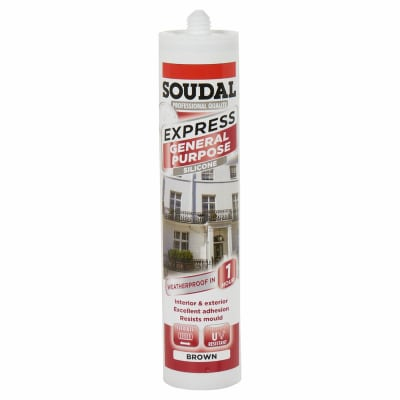 Soudal Express General Purpose Silicone - 300ml - Brown