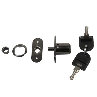 Cabinet Push Lock - 19 x 23mm - Keyed Alike Differ 1 - Black Nickel