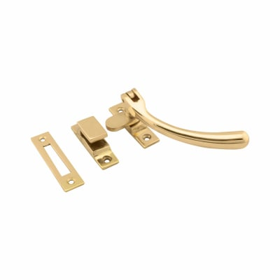 Hampstead Bulb End Hook & Plate Window Fastener - Polished Brass