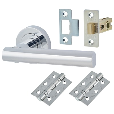 Touchpoint Bella Lever Door Handleon Rose - Door Kit - Polished Chrome