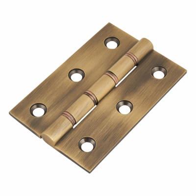 Double Phosphor Bronze Washered Hinge - 75 x 50 x 2.5mm - Antique Brass - Pair