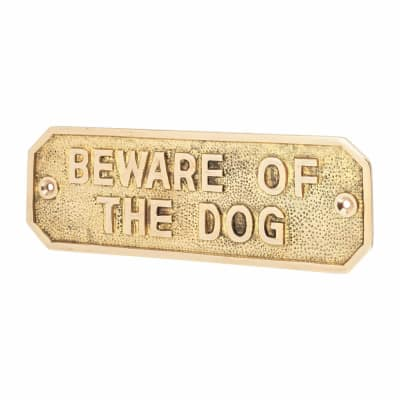 Gate Sign - Beware Of The Dog - Brass