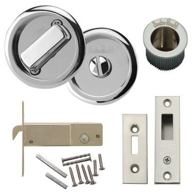 KLÜG Round Flush Privacy Set with Bolt - Polished Chrome