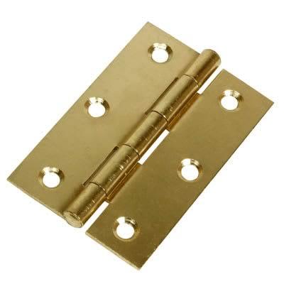 Steel Hinge - 90 x 55mm - Brass Plated - Pair