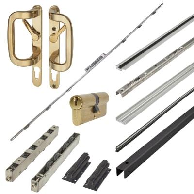 Patioslide Single Patio Door Kit - Gold - 100kg - 1800mm Track