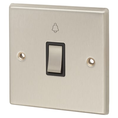 Contactum 1 Gang 10AX Switch - Bell Push - Brushed Steel with Black Insert