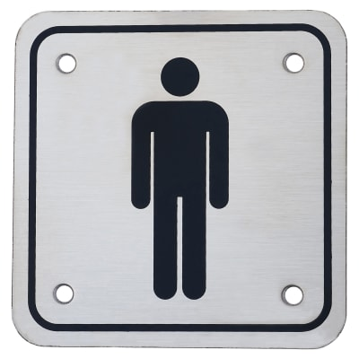 Mens Square Toilet Door Sign - 100 x 100mm - Stainless Steel