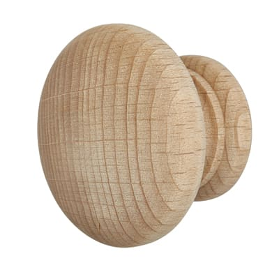 Touchpoint Wooden Cabinet Knob - 50mm - Beech - Pack 5