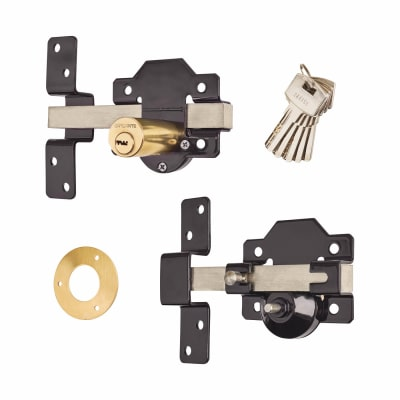 Locking Long Throw Gate Lock - 70mm - 1 keyhole/1 button - 316 Stainless Steel
