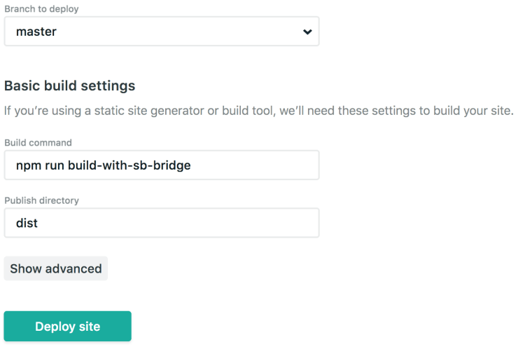 Screenshot of the Netlify UI for deployment settings