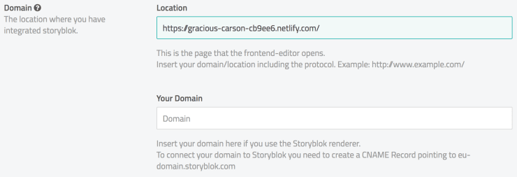 Screenshot of the Storyblok domain settings