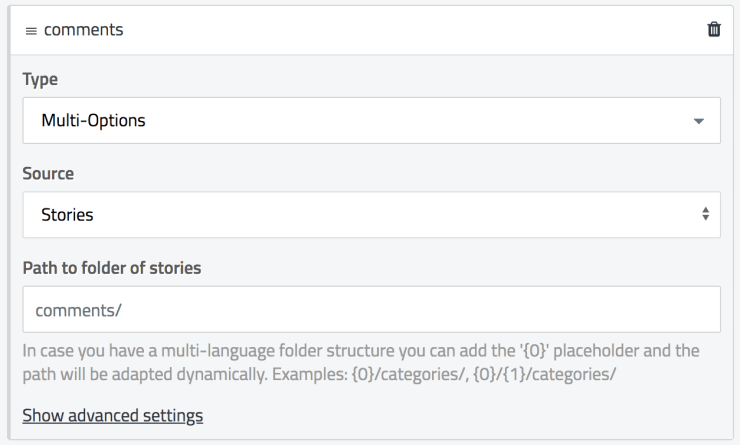 Screenshot of the comments field settings in Storyblok.