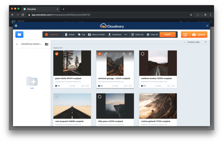 The Cloudinary media library overlay in Storyblok