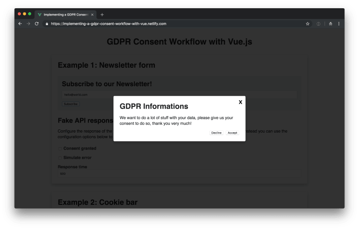 GDPR modal form