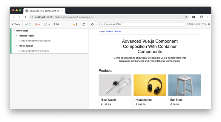Integration Testing Vue js Container Components With Cypress