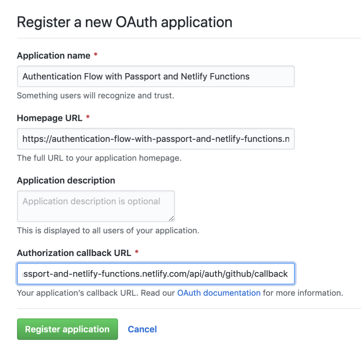 Setting up a new GitHub OAuth application.