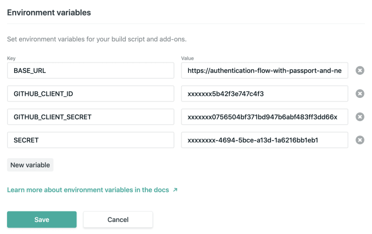 Netlify environment variables.