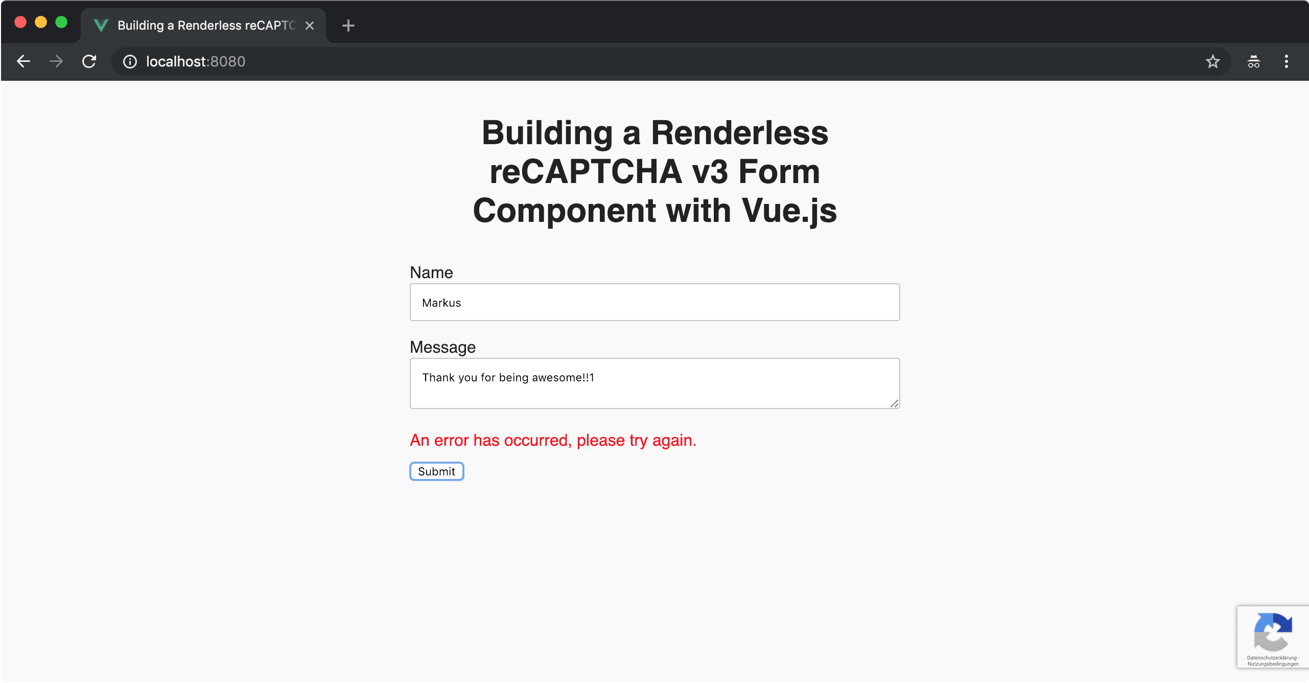 Building a Renderless reCAPTCHA v3 Form Component with Vue js