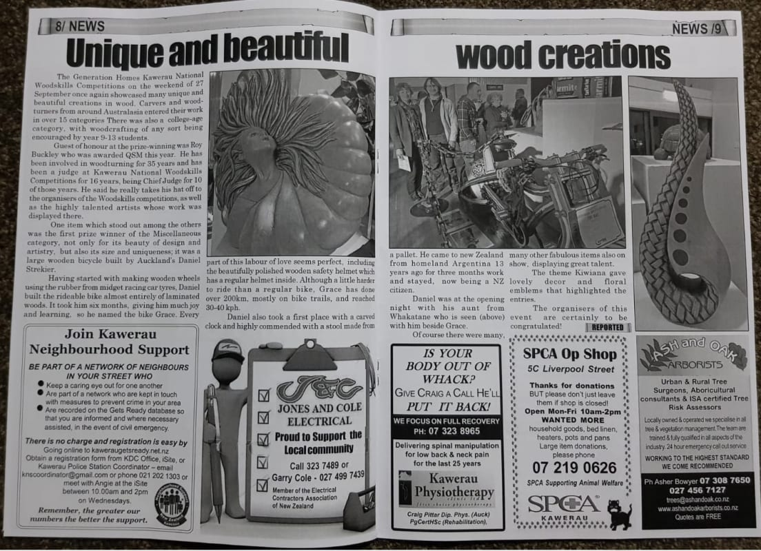 Newspapper report about Kawerau National Woodskills Competition