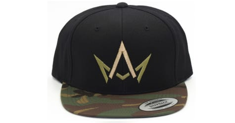 March And Ash - Black Hat Green & Gold Crown With Camo Brim - Snapback
