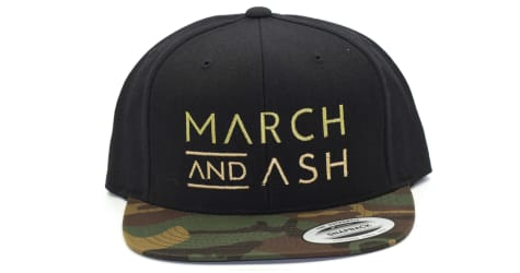 March And Ash - Black Hat March and Ash Text With Camo Brim - Snapback