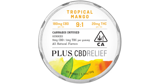 Plus - Tropical Mango 9:1 CBD Relief Gummies - 200mg