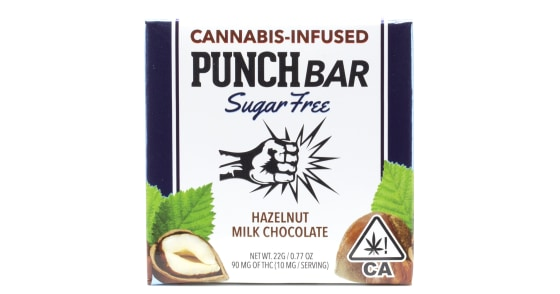 Punch Edibles - Sugar Free Hazelnut Milk Chocolate Bar - 90mg