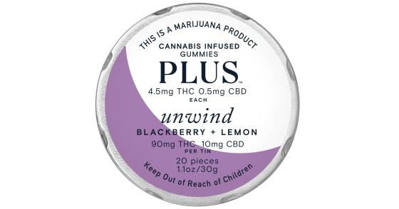 Plus - Blackberry & Lemon Unwind Gummies - 100mg
