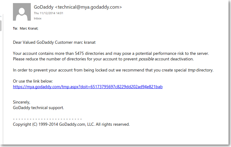 Highly targeted Phishing against a GoDaddy account