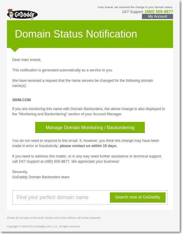 Fake GoDaddy DNS Notifications | Marc Kranat