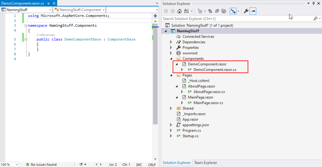 Organizing and Naming Components in Blazor - nested files in VS