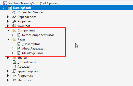 Organizing and Naming Components in Blazor - folder structure