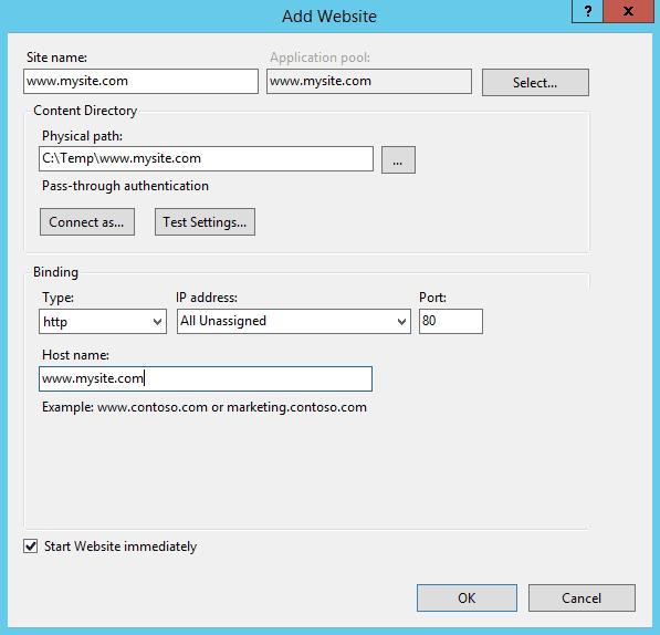 Add a new website in IIS 8.5