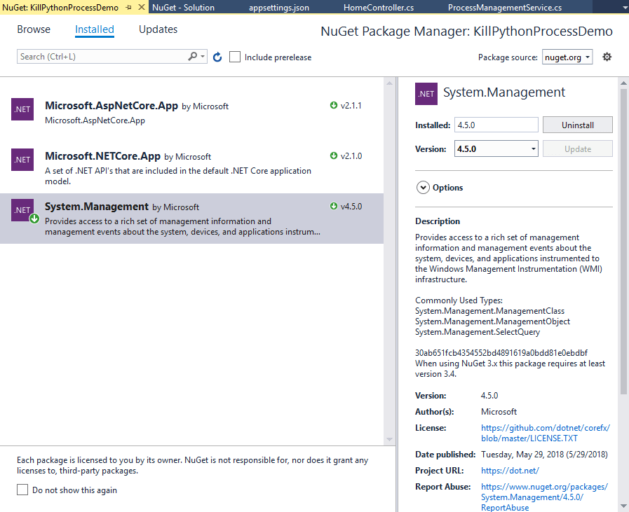 System.Management available through NuGet Package Manager