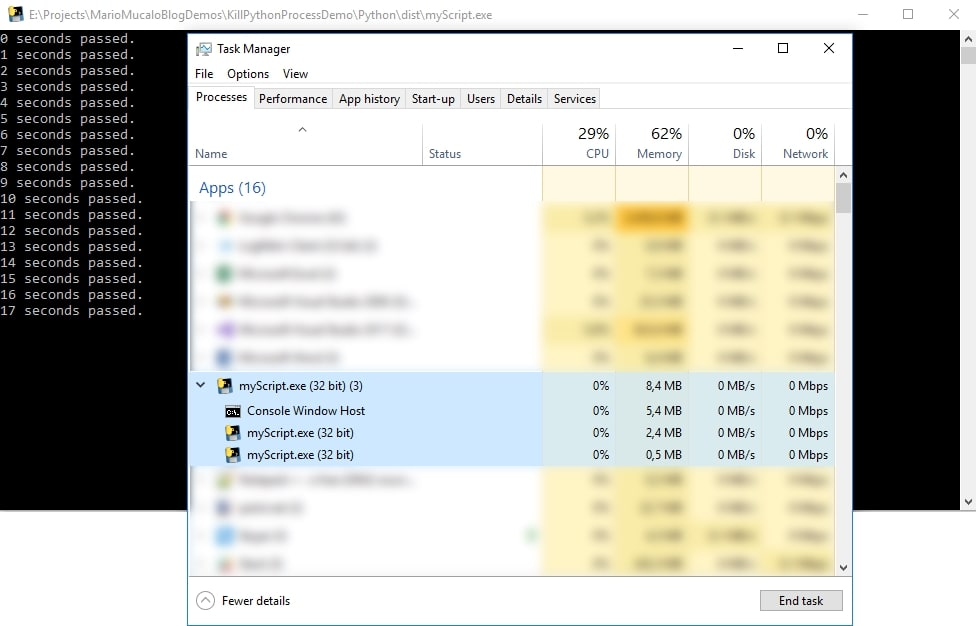 Task manager screenshot after the process has started