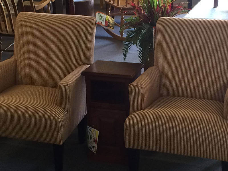 Brown Checkered Lounge Chairs
