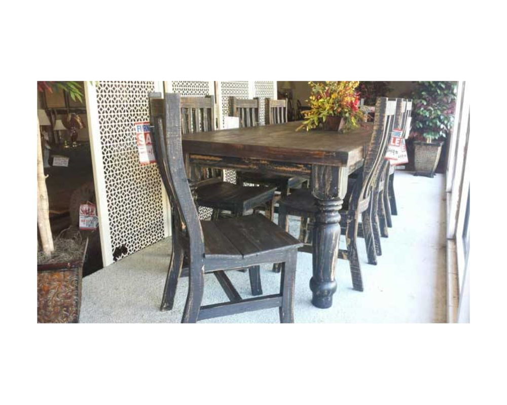 Rustic Dark Wood Dining Room Table w/ Chairs