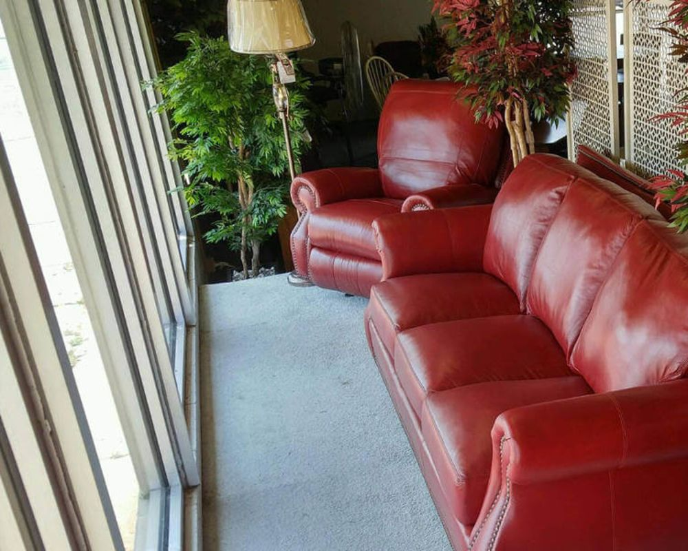 Salsa Red Leather Furniture Set