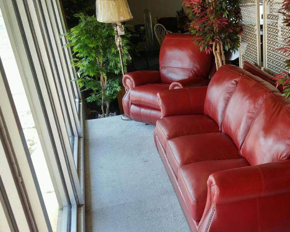 Salsa Red Leather Furniture Set - Custom Furniture and Flooring