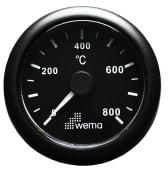 Wema Eksostemperaturmåler Sort 52mm 12/24V
