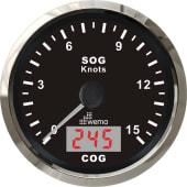 Wema GPS Knopmåler 0-15 m/Kompass Silverline Sort 85mm 12V