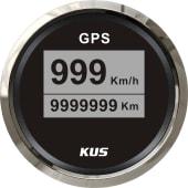 Kus digital fartsmåler m/tripteller GPS 52mm sort/rustfritt