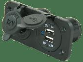 Strømkontakt 1x12V 2x USB Innfellbar 12V