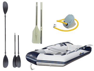Gummibåt, årer og utstyr