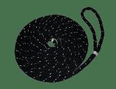 Fortøyningstau m/løkke 14mm x 10m flettet sort med refleks