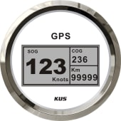 KUS Fartsmåler GPS digital 85mm Hvit/rustfritt