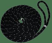 Fortøyningstau m/løkke 14mm x 6m flettet sort med refleks