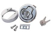 Dørkring rund med lås for tykkelse 7-12mm