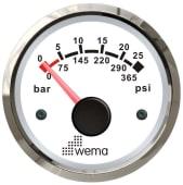 Wema Oljetrykkmåler Silverline Hvit 110679 52mm 12/24V