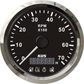 KUS Turteller 7K m/timeteller og 4 LED alarmer Sort/rustfr.